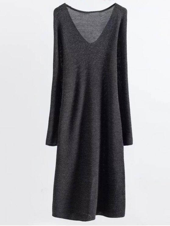 new Long Sleeve Knitting Midi Dress - GRAY ONE SIZE