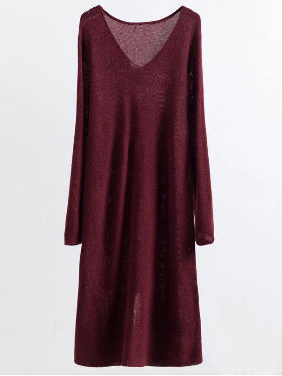 Vestido largo de la manga que hace punto Midi - Vino Rojo Única Talla