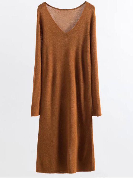 Pull-robe manches longues tricotée - Curcumae TAILLE MOYENNE