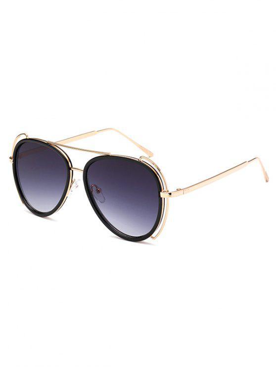 Gafas De Sol Estilo Piloto Travesaño Ahuecado - Gris Oscuro