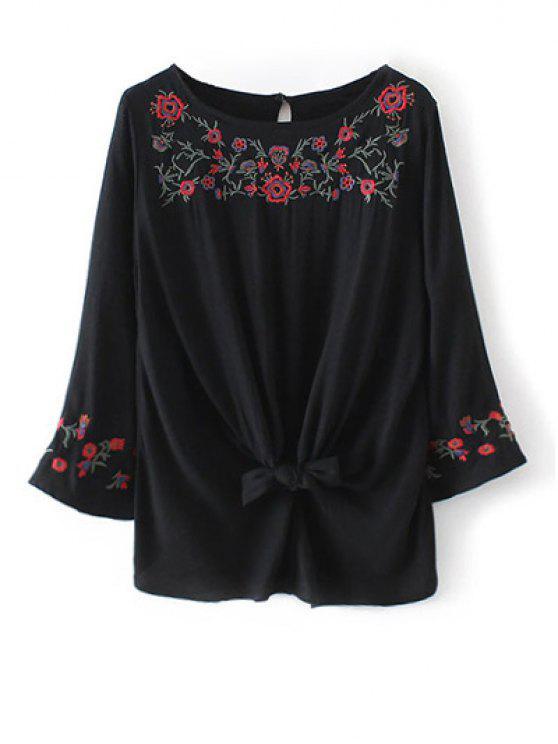 Manga de la llamarada de la blusa bordada floral - Negro L