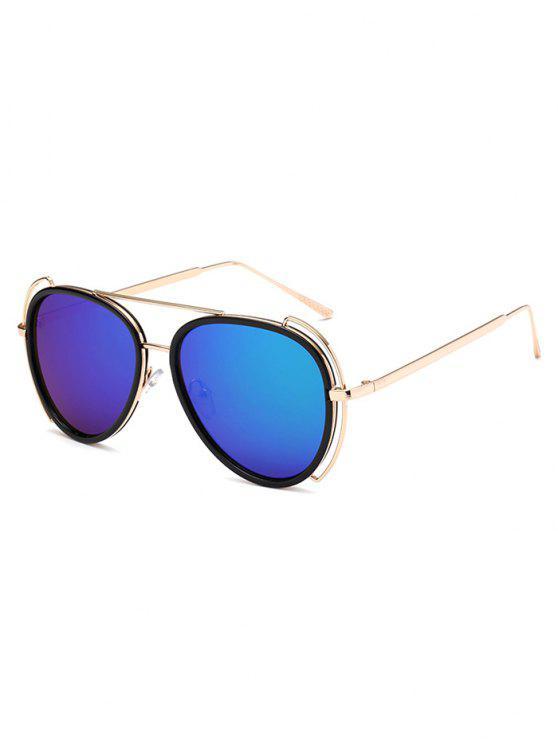 Gafas De Sol Reflejantes Estilo Piloto Travesaño Ahuecado - Azul