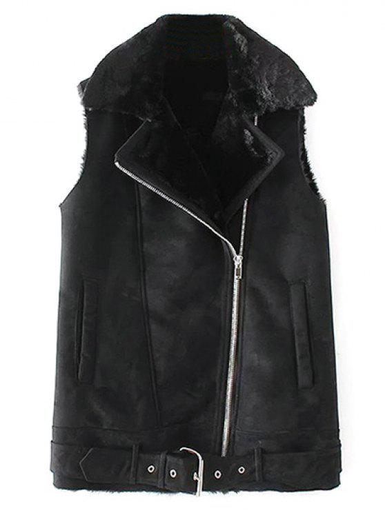 affordable Zipped Faux Shearling Waistcoat - BLACK L