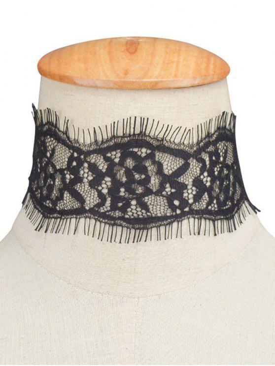 Gargantilla Cordón Diseño Pestañas - Negro