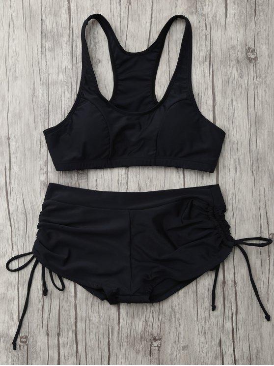Ensemble de bikini sportif paddé lacé haut - Noir L