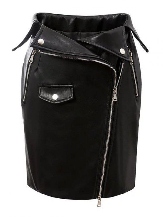 Jupe collante zippée en cuir faux - Noir S