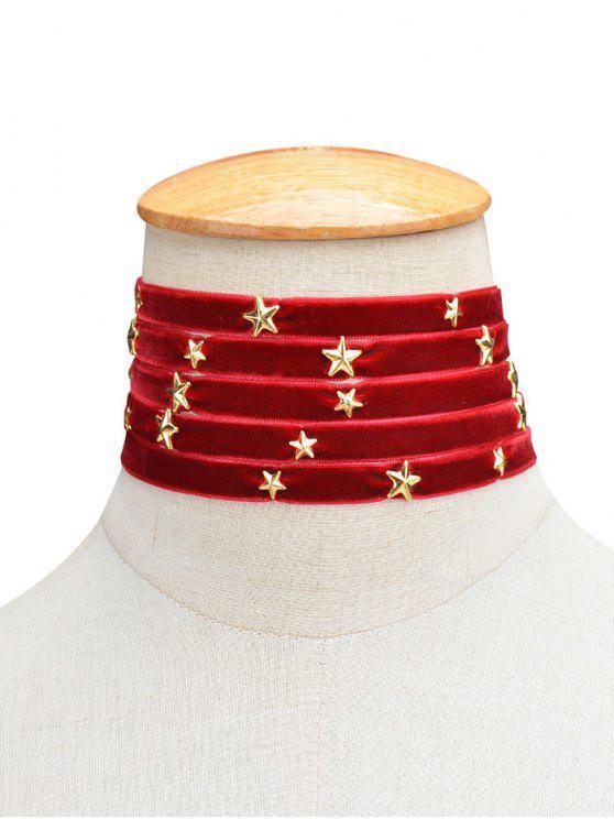 Gargantilla Multicapas Terciopelo Diseño Estrella - Burdeos