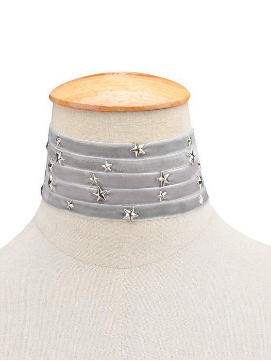 Gargantilla Multicapas Terciopelo Diseño Estrella - Gris