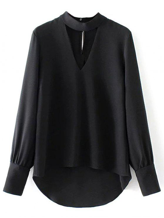 women's High Low Choker Blouse - BLACK L