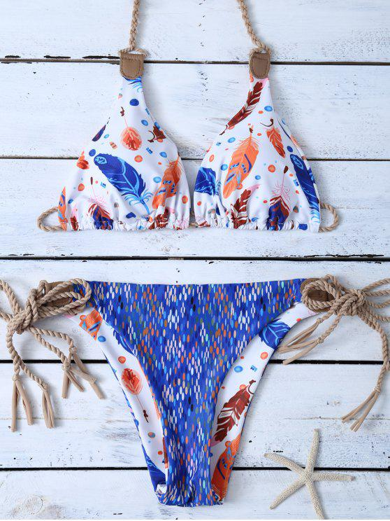 sale Halter Reversible Feather Print String Bikini - BLUE AND WHITE XL