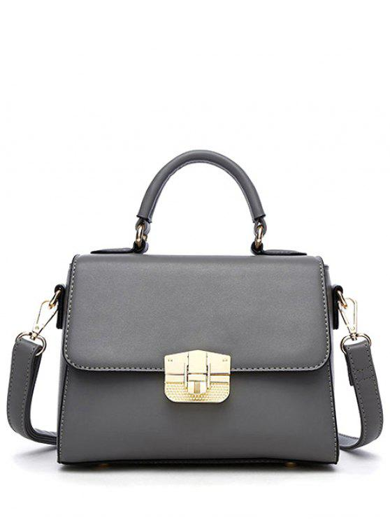 trendy PU Leather Metal Crossbody Handbag - GRAY