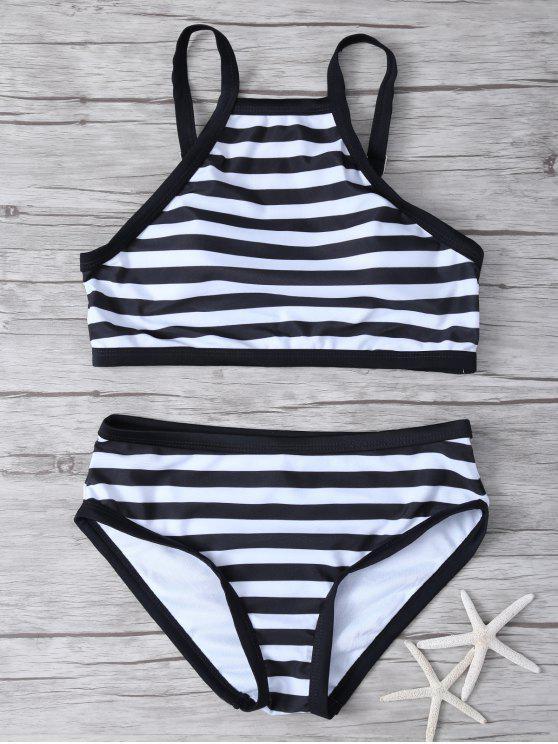 Bikini rayé à col haut - Blanc et Noir L