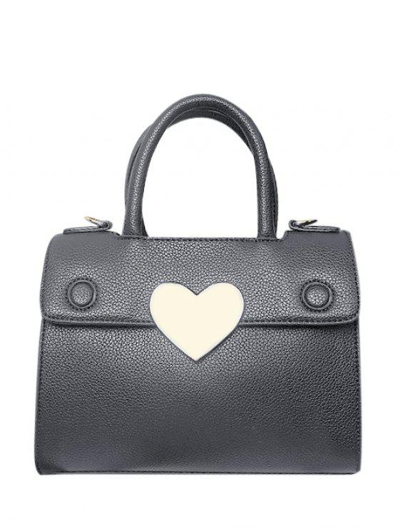 chic Metal Heart PU Leather Handbag - GRAY