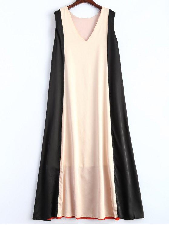 Robe trapèze sans manches col V - Multicouleur XL