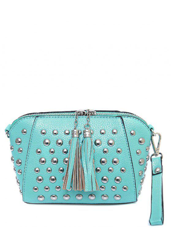 buy PU Leather Tassel Studded Clutch Bag - TIFFANY BLUE