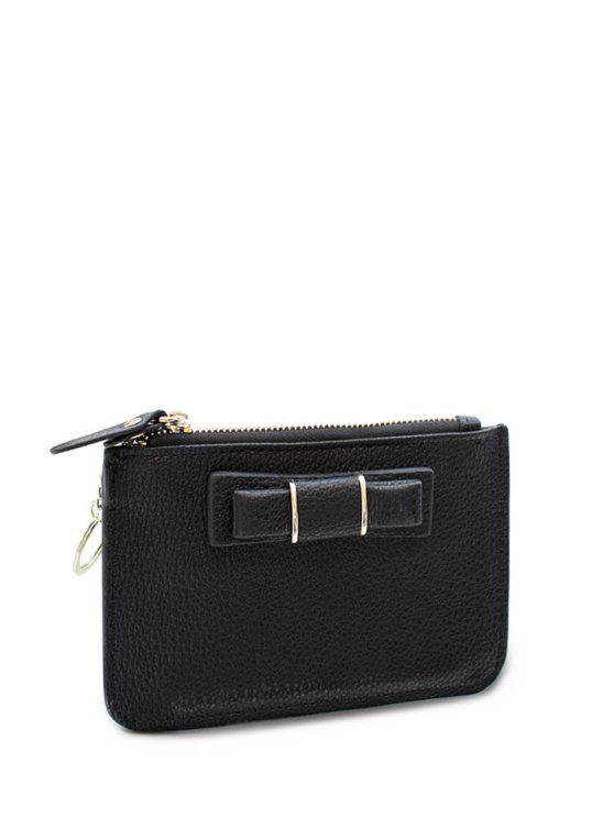 sale Bowknot PU Leather Coin Purse - BLACK