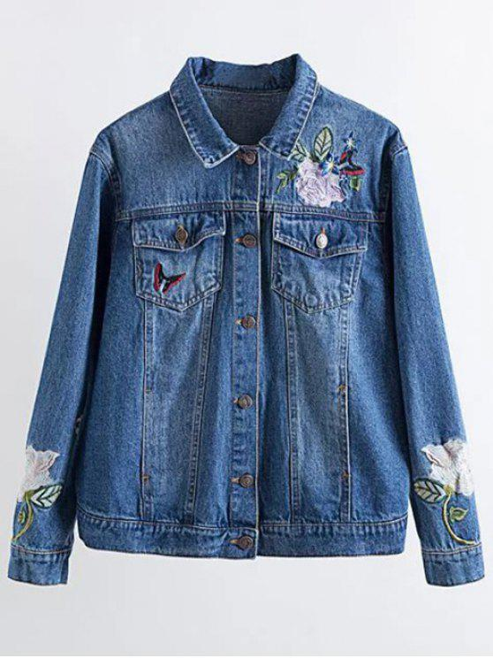trendy Flower Embroidered Pockets Denim Jacket - DENIM BLUE S