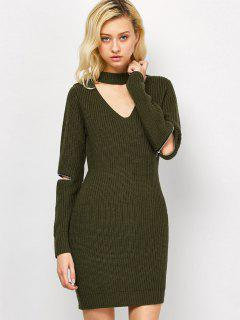 Choker Neck Short Sheath Fitted Sweater Dress - Army Green M