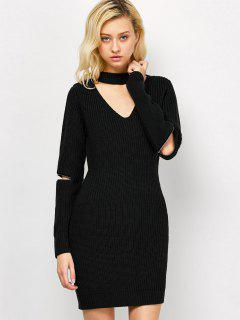 Choker Neck Short Sheath Fitted Sweater Dress - Black M
