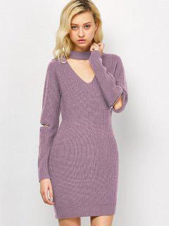 Choker Neck Short Sheath Fitted Sweater Dress - Pink M