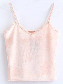 Velvet Cropped Cami Top - Pink