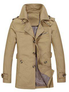 Turndown Collar Single Breasted Epaulet Trench Coat - Light Khaki 3xl