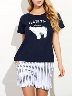 Pantalones Cortos A Rayas Y Camiseta Diseño Impreso Dibujos Animados - Azul M