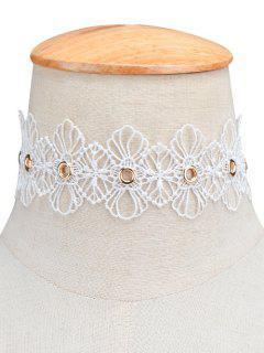 Collier Ras Du Cou Ajouré En Forme Floral - Blanc