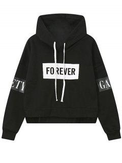 Side Zipper Graphic Patched Hoodie - Black