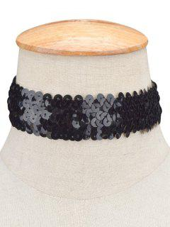 Collier Ras Du Cou à Sequins - Noir