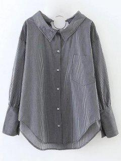 Striped Oversized High-Low Shirt - Black S