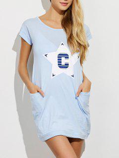 Robe De Pyjama à Motifs étoile Avec Poches - Bleu Clair M