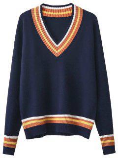 V Cuello Del Suéter De Cricket - Azul Purpúreo