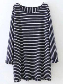 De Gran Tamaño Camiseta A Rayas - Azul Purpúreo M