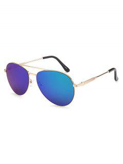Metal Crossbar Pilot Mirrored Sunglasses - Blue