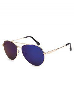 Metal Crossbar Pilot Mirrored Sunglasses - Deep Blue