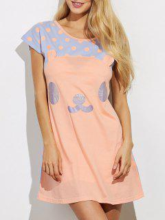 Cartoon Pattern Lounge Tee Dress - Orange S