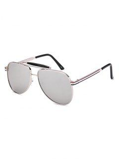 Pencil Leg Pilot Mirrored Sunglasses - Silver