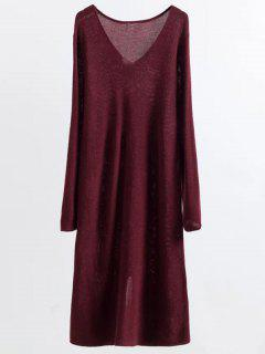 Vestido Largo De La Manga Que Hace Punto Midi - Vino Rojo