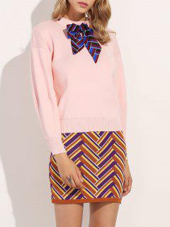 Bowknot Sweater With Zig Zag Knitted Skirt - Pink L