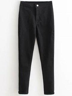 High Waist Skinny Tapered Jeans - Black Xl