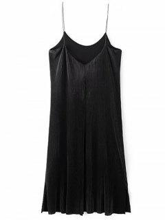Fruncido Vestido A Media Pierna De La Vendimia - Negro S