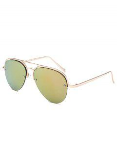 Half Frame Pilot Mirrored Sunglasses - Golden