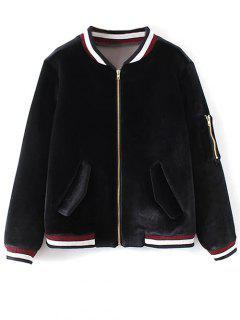 Velvet Zipped Bomber Jacket - Black S