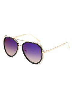 Hollow Out Frame Pilot Sunglasses - Purple