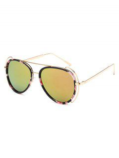 Floral Frame Pilot Mirrored Sunglasses - Golden
