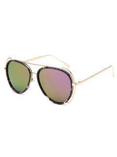 Floral Frame Pilot Mirrored Sunglasses - Light Purple