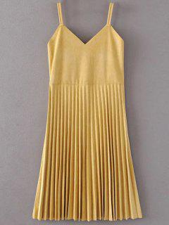 Pleated Faux Suede Slip Dress - Yellow M