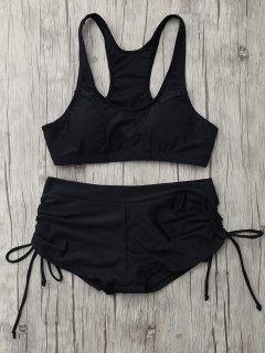 Lace Up Padded Sporty Bikini Set - Black M
