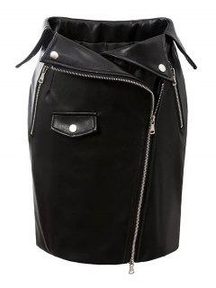 PU Leather Zippered Bodycon Skirt - Black M